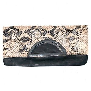 Style & Co clutch black and snakeskin